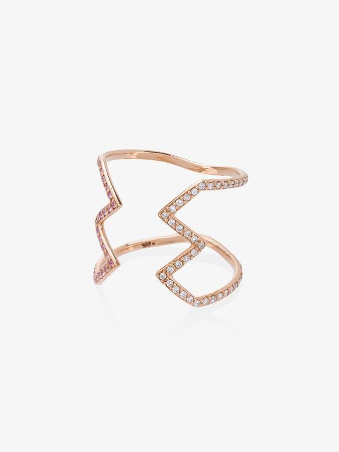 Sabine Getty rose gold open Ziggy ring with diamond and sapphire