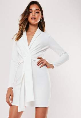 Missguided Petite White Knit Belted Blazer Dress