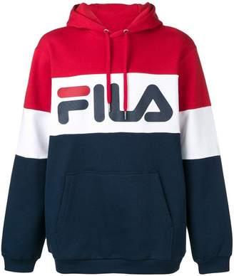 Fila panelled logo print hoodie