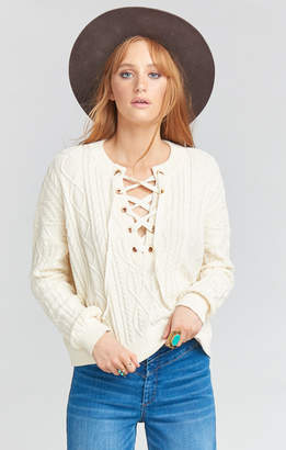 Show Me Your Mumu Joey Lace Up Sweater ~ Snowflake Cable Knit