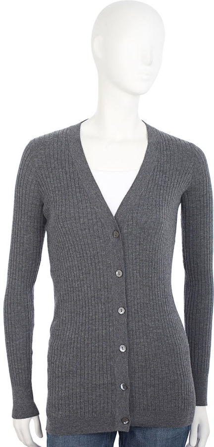 Vince Ribbed V-Neck Cardigan