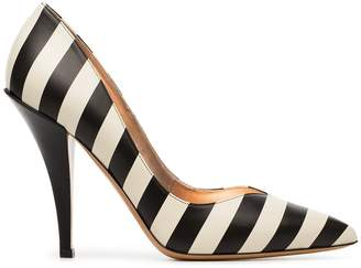 Valentino black and beige Heart 110 stripe leather pumps