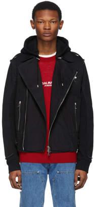 Balmain Black Hooded Biker Jacket