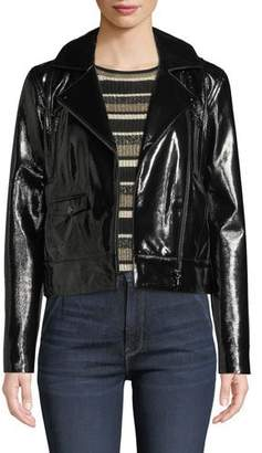 Frame Slick Cropped Leather Moto Jacket