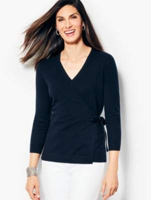 Talbots Cashmere Faux-Wrap Sweater