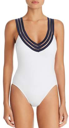 248b4769f1220 Kenneth Cole V-Neck Crisscross Back One Piece Swimsuit