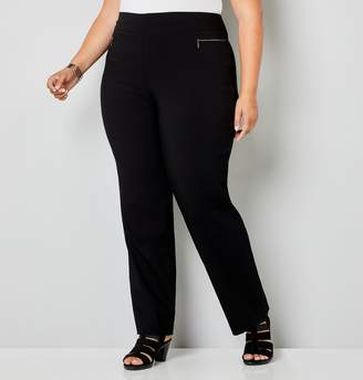 Avenue Plus Size Super Stretch Zip Pocket Tummy Control Pull-On Pant In Black