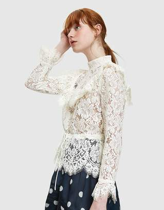 Ganni Jerome Lace Blouse in Egret