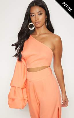 PrettyLittleThing Petite Coral Asymmetric Ruffle Sleeve Crop Top