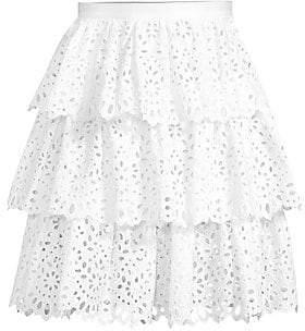 Michael Kors Women's Tiered Floral Eyelet Skirt
