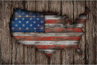 icanvasart American Wood Flag By Diego Tirigall