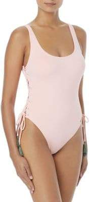 Vince Camuto One-Piece U-Neck Lace-Up Swimsuit
