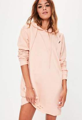 Missguided Ripped Hooded Sweater Dress Nude, Beige