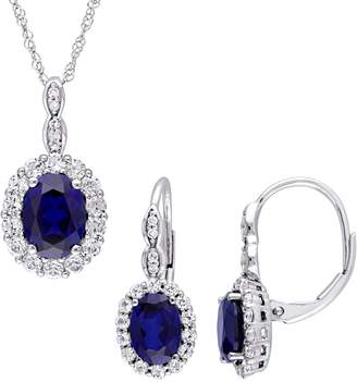 Concerto 2-Piece 14K White Gold, White Topaz 0.065 CT. T.W. Diamond Necklace Earrings Set