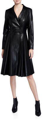 Badgley Mischka Double-Breasted Faux Leather Coat Dress