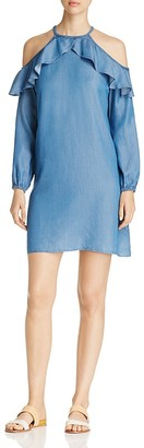 MICHAEL Michael Kors Chambray Cold Shoulder Ruffle Dress $140 thestylecure.com