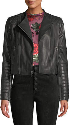Alice + Olivia Gamma Collarless Leather Biker Jacket
