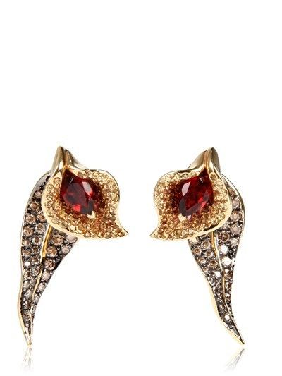 Shaun Leane Salomè Lily Studs With Leaf Back Earring