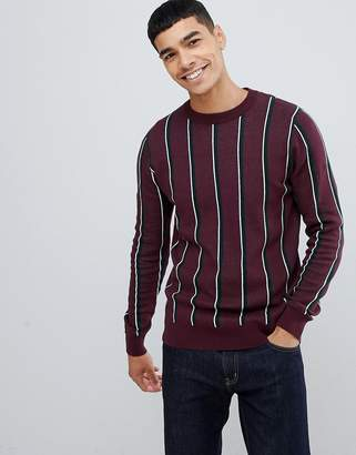 New Look sweater with crew neck in burgundy stripe