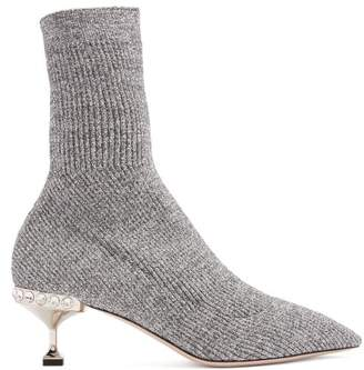 Miu Miu Ribbed Knit Metallic Glitter Sock Ankle Boots - Womens - Silver