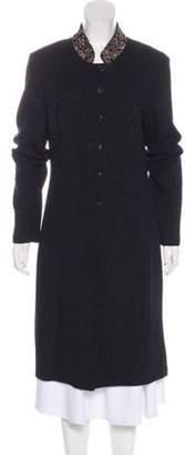 St. John Embellished Button-Up Coat Black Embellished Button-Up Coat