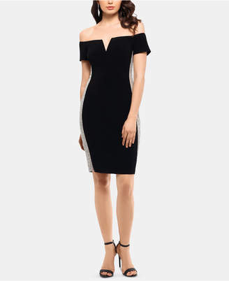 Xscape Evenings Beaded Off-The-Shoulder Bodycon Dress