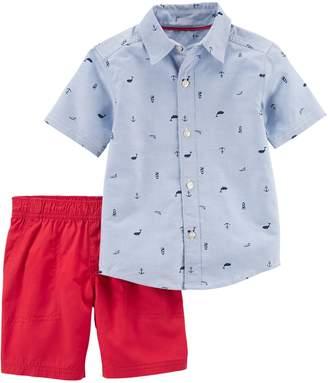 Carter's Baby Boy Nautical Schiffli Print Shirt & Shorts Set