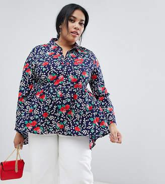 ca17c51dec45a6 Influence Plus floral print dim hem peplum shirt