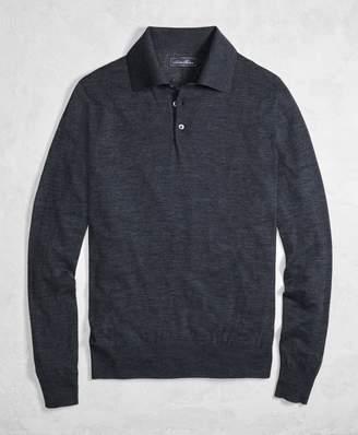 Brooks Brothers Golden Fleece 3-D Knit Fine-Gauge Merino Wool Polo Sweater