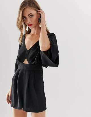 Asos DESIGN Romper with Kimono Sleeve and Cut Out