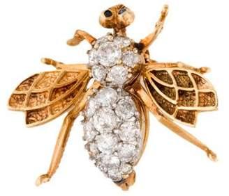 14K Diamond & Sapphire Bee Brooch