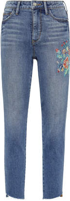Sam Edelman Mary Jane Embroidered High Rise Straight Crop Jean