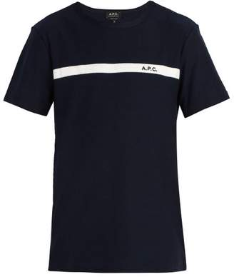 A.P.C. Logo Detail Cotton Jersey T Shirt - Mens - Navy