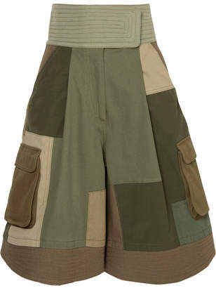 Valentino Patchwork Cotton-blend Shorts - Army green