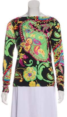Ralph Lauren Black Label Long Sleeve Paisley Print Top