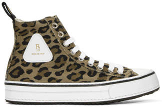 R 13 Brown and Black Leopard High-Top Sneakers