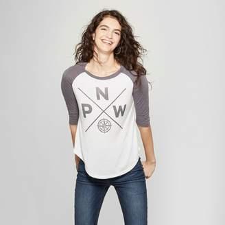 Awake Women's 3/4 Sleeve Compass Graphic T-Shirt White