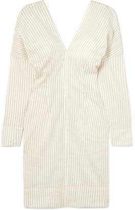 Bassike Pinstriped Ramie And Cotton-blend Mini Dress - Cream