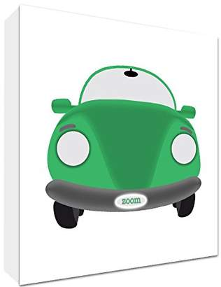 Feel Good Art Modern Wall Art on Canvas/Example City Sports Car and 25x 25x 4cm Green/White Small
