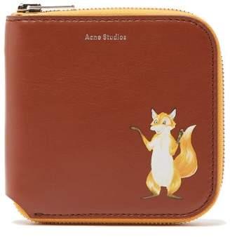 Acne Studios Fox Leather Zip Around Wallet - Womens - Tan Multi