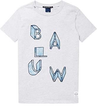 Scotch & Soda Shrunk Boy's Regular Fit Short Sleeve Tee Blauw' Artwork T-Shirt, (Grey Melange 60), (Size: 14)