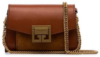 Givenchy brown Logo clasp-front leather and suede mini bag