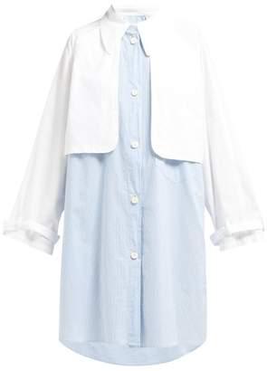 39f00c01e7f7e5 MM6 MAISON MARGIELA Double Layered Cotton Shirtdress - Womens - Blue White