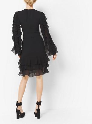 Michael Kors Ruffled Silk-Georgette Dress