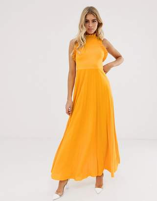 c4a9a0dc4f3b Asos Design DESIGN high neck pleated maxi dress with ruffle detail