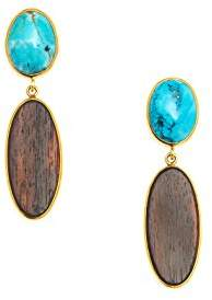 The Branch Jewellery Oval Rosewood and Blue Howlite Stone Earring Set in Gold Plate of 6.7cm