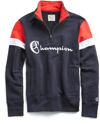Todd Snyder + Champion Champion Graphic Colorblock Half-Zip in Red, White and Blue