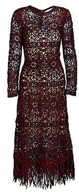 Oscar de la Renta Women's Sequin Crochet A-Line Midi Dress