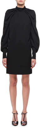 Carven Draped Blouson-Sleeves Sheath Dress, Black