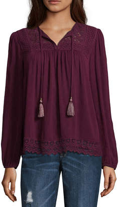 Artesia Long Sleeve V Neck Dobby Bohemian Blouse